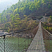 Suspension Bridge Over The Seti River In Nepal Poster