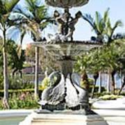 Swan Fountain In Lakeland Poster
