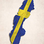 Sweden Map Art With Flag Design Poster