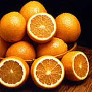 Sweet Oranges Whole And Halved Poster