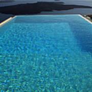 Swim Above The Santorini Island Poster