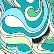 Swirls Blue Green Poster