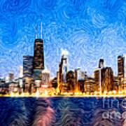 Swirly Chicago At Night Poster