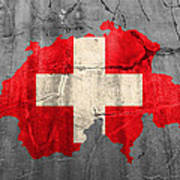Switzerland Flag Country Outline Painted On Old Cracked Cement Poster