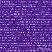 Sydney In Words Purple Poster