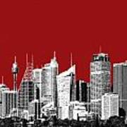 Sydney Skyline 1 - Dark Red Poster