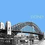 Sydney Skyline 2 Harbor Bridge - Light Blue Poster