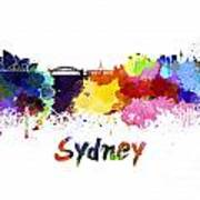 Sydney Skyline In Watercolor Poster