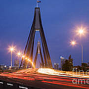 Sydney Traffic And Anzac Bridge At Twilight Poster by Colin and Linda McKie