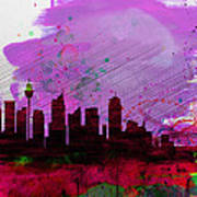 Sydney Watercolor Skyline 2 Poster