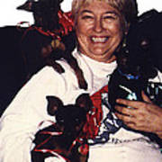 Sylver Short With Her Miniature Pinschers Christmas 2002-2008 Poster