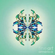 Symmetrical Orchid Art - Blues And Greens Poster