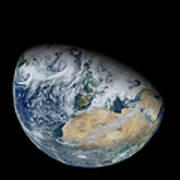 Synthesized View Of Earth Showing North Poster