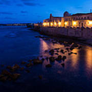 Syracuse Sicily Blue Hour - Ortygia Evening Mood Poster