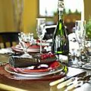 Table Setting With Red And White Poster