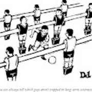 Table Soccer Players Look At One Unattached Poster