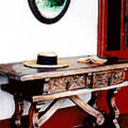 Table With Hat And Book Poster