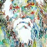 Tagore Watercolor Portrait Poster