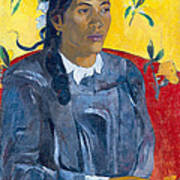 Tahitian Woman With A Flower Poster