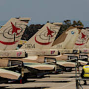 Tail Fins Of Israeli Air Force F-16`s Poster