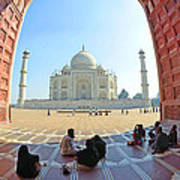 Taj Mahal In Fisheye Poster