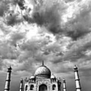 Taj Mahal India In Black And White Poster