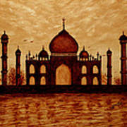 Taj Mahal Lovers Dream Original Coffee Painting Poster