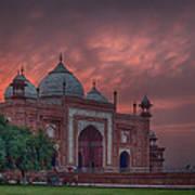 Taj Mahal Mosque At Sunset Poster