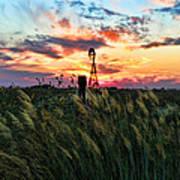 Tall Grass Windmill Poster