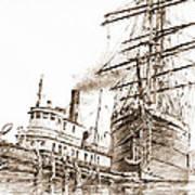 Tall Ship Assist Sepia Poster