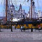 Tall Ship At Albert Dock Poster