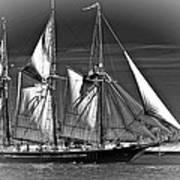 Tall Ship Bw Poster