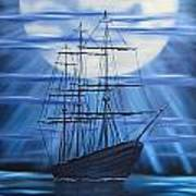 Tall Ship By Moonlight Poster