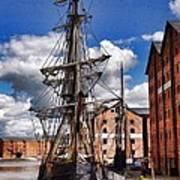 Tall Ship In Gloucester Docks Poster