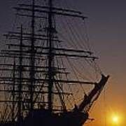 Tall Ship Silhouetted Poster