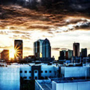 Tampa Skyline At Sunset Hdr 1 Poster