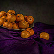 Tangerines In A Shell Platter Poster by Leah McDaniel