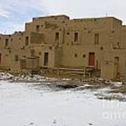 Taos Pueblo With Snow Poster