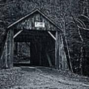 Tappan Covered Bridge Bw Poster