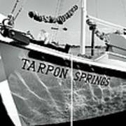 Tarpon Springs Spongeboat Black And White Poster