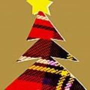 Tartan Christmas Tree On Gold Poster