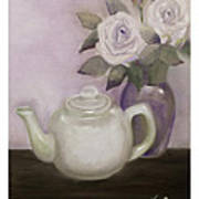 Tea And Roses Poster by Nancy Edwards