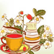 Tea Or Coffee Vector Background With Poster