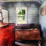Teacher - One Room Schoolhouse With Hurricane Lamp Poster by Susan Savad