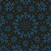 Teal And Brown Floral Abstract Poster