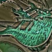 Teal Steel Digital Guitar Art By Steven Langston Poster