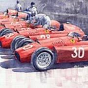 Team Lancia Ferrari D50 Type C 1956 Italian Gp Poster by Yuriy  Shevchuk
