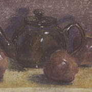 Teapot And Apples Poster