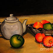 Teapot With Some Fruit Poster