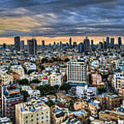Tel Aviv Skyline Winter Time Poster